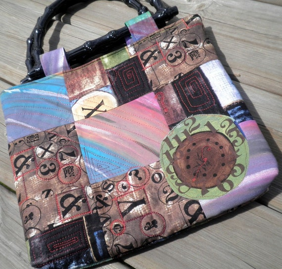 Hand Bag  - Patchwork Urban Art and Painted Fabric