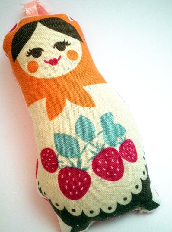 Stuffed Ornament  - Bright Matryoshka Doll with Orange Scarf and Strawberries