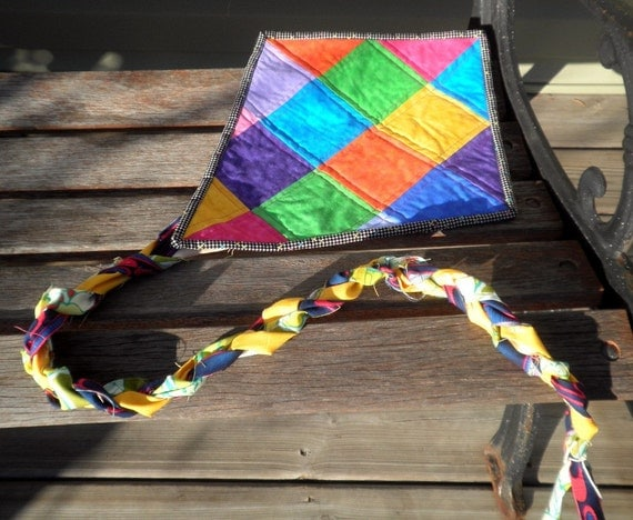 Quilted Wall Art - Let's Go Fly a Kite - Checkerboard of Marbled Solids