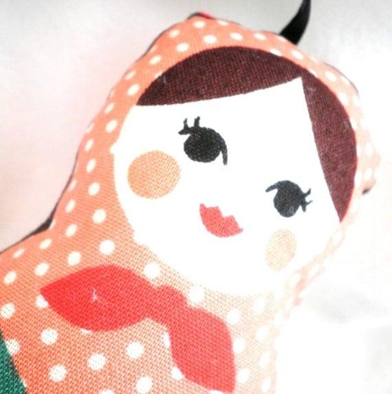 Worry Doll or Stuffed Ornament  - Matryoshka Doll with a Peach Polka Dot Scarf on Brown