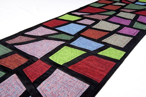 Quilted table Runner - Stained Glass in Quilter's Tweed