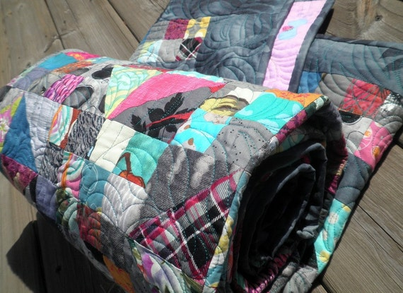 Heirloom Lap Quilt - A Modern Mystery in Pinks, Aquamarines, and Greys