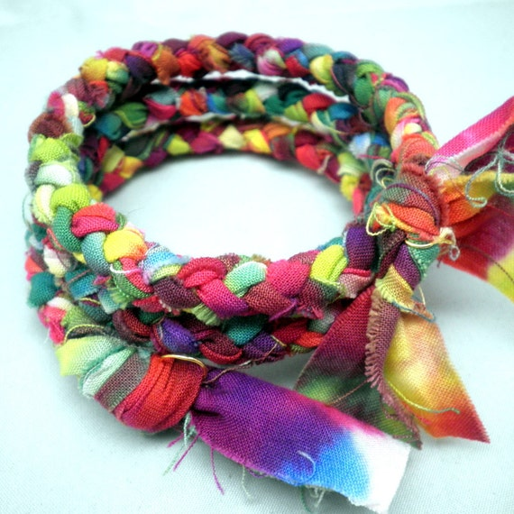 Memory Bracelet - Braided Hand-Dyed Fabric in Multiple Bright Colors