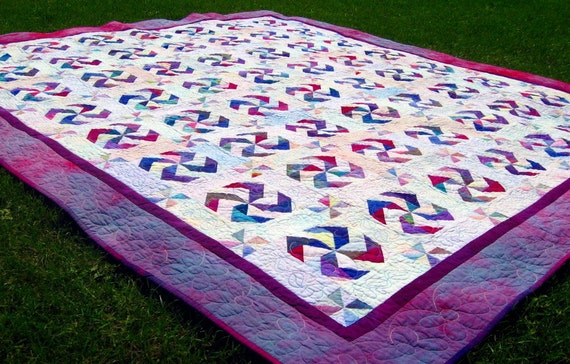 Patchwork King or Queen Quilt, Blanket, Heirloom, Hand-Dyed, Water Wheel in Purple