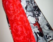 dramatic dragon asian abstract red batik gored skirt W32