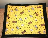 Quilted Flannel Dog Crate Liner-Terrier & Dalmatian Puppy Print