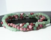 Watermelon Candy Elastic Bracelet, Pink, Red and Green, 4 strands