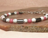 Pink, Black and White Sterling Silver Bracelet.