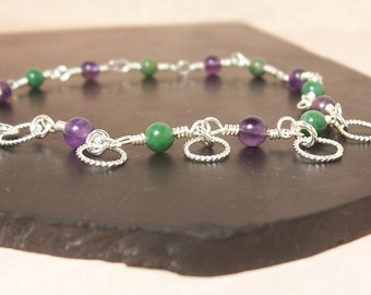 Green and Purple Sterling Silver Wire Wrapped Bracelet - Purple Passionfruit.