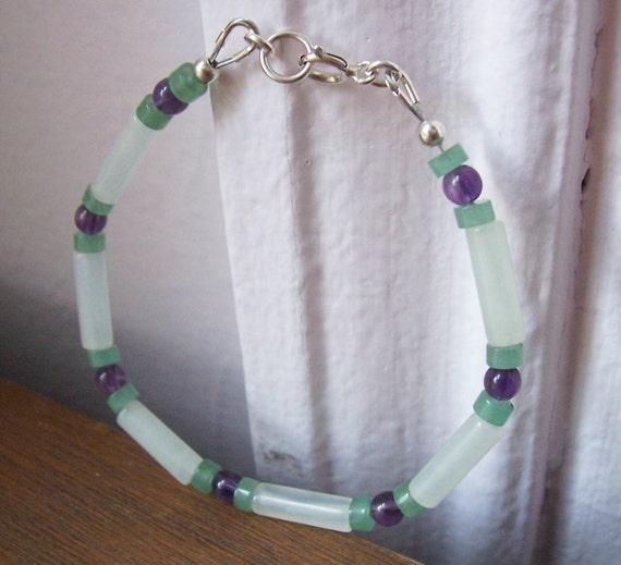 Green and purple bracelet, Sterling Silver