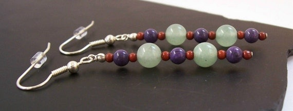 Mystic Cocktail Earrings, Green, Purple and Red, Sterling Silver