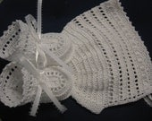 Christening Baby Bonnet Shoes, Christening Crochet Bonnet and Booties Baby Boy White Ribbons Newborn or Reborn Doll