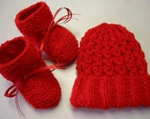 Red Mock Cable Hand Knit Hat and Booties 0-3 Months Baby Girl