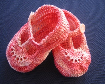 Crochet Booties Baby Girl  Pink T Strap Shoes 3-6 Months