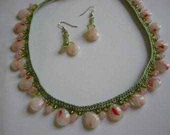 Beaded Crochet Necklace and Earrings Set