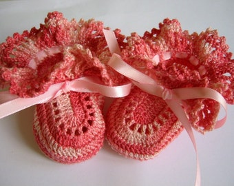 Crochet Baby Booties Shaded Pink Ruffles for Newborn or Reborn Doll