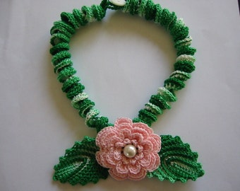 Crochet Necklace Pink Irish Rose