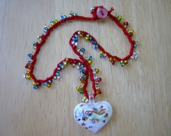Crochet Necklace Multicolor Glass Beads with Glass Heart Pendant