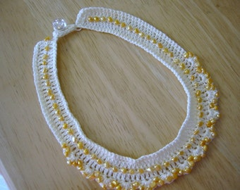 Croched Chocker Yellow Tiny Pearl Beads