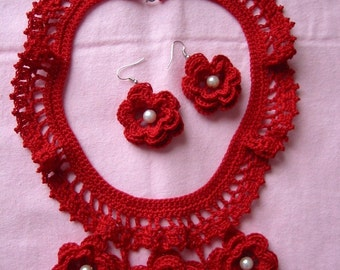 Crochet Necklace and Earrings Red Irish Roses with White Pearl Beads