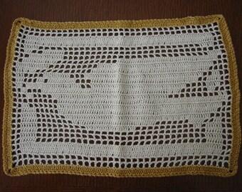 Hand Crochet Doily Filet Crochet Dove Bird
