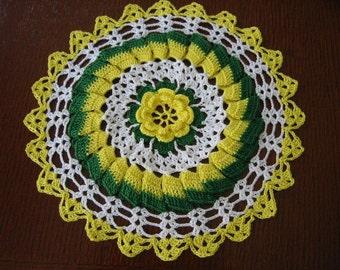 Hand Crochet Doily Yellow Irish Rose Ruffles