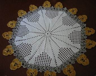 Crochet Doily Gold Christmas Flowers