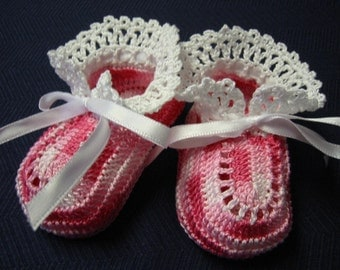 Crochet Booties Baby Girl Pink and White 3-6 Months