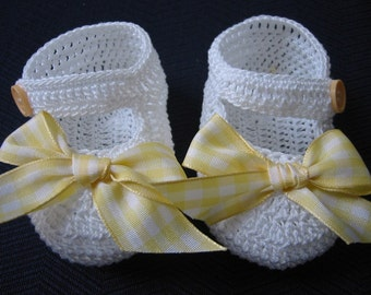 Crochet Booties Yellow Bow Mary Janes Baby Girl