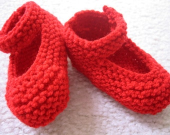 Hand Knit Booties Baby Girl Red Mary Janes 0-3 Months or Reborn Doll