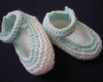 Knitted Baby Booties Mary Janes White and Green 0-6 months Baby Girl or Reborn Doll
