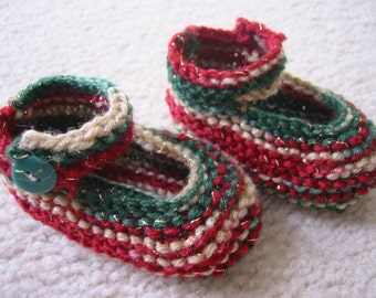 Hand Knit Baby Booties Christmas Time Mary Janes Newborn Baby Girl or Reborn Doll