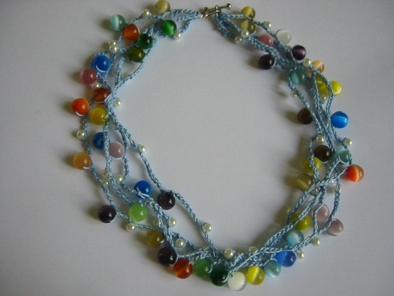 Beaded Crochet Necklace Pastel Color Beads