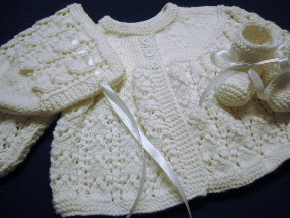 Hand Knitted Baby Girl White Sweater Bonnet Booties Set 3-6 Months