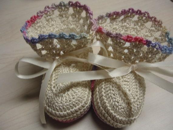 Crochet Baby Booties Pastel Colors 0-3 Months Newborn Reborn Baby Girl