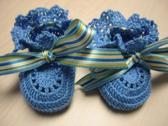 Crochet Booties Dainty Blue Newborn Reborn Baby Girl
