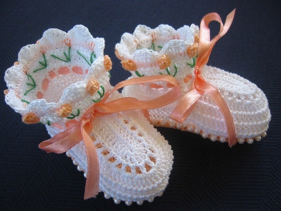 Peach Tulips and Pearl Beads 3-6 Months Baby Girl Crochet Booties