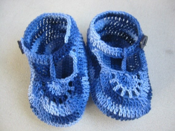 Free Crochet Pattern T Strap Booties : Crochet Booties Baby Boy Shaded Blue T Strap Newborn or Reborn