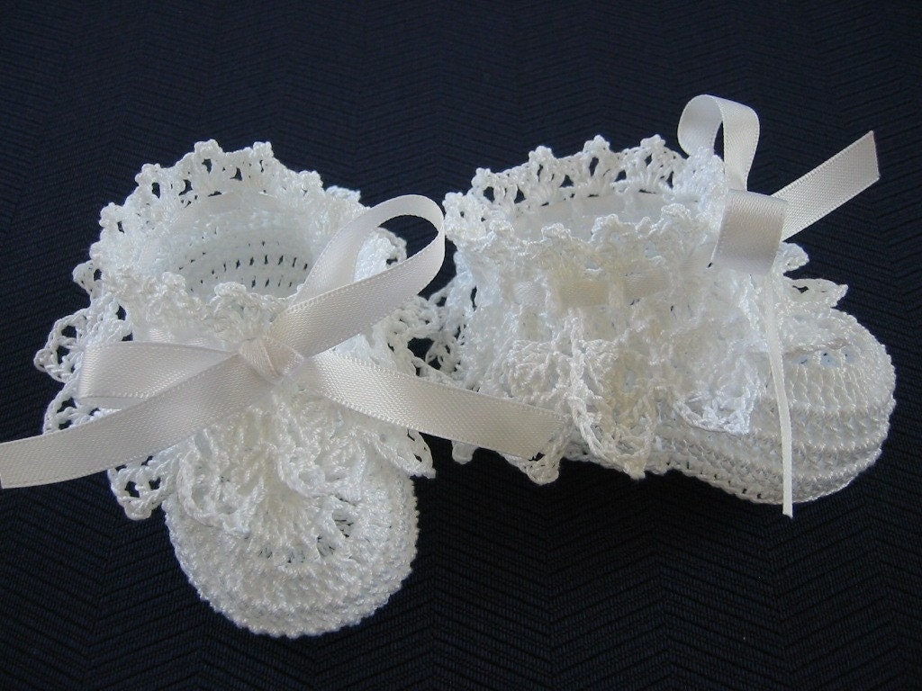 Crochet Christening Baby Girl Booties White Antique Lace