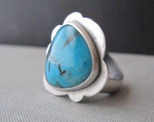 60 DOLLAR SALE - Taos Skies Ring - Turquoise and Sterling Silver