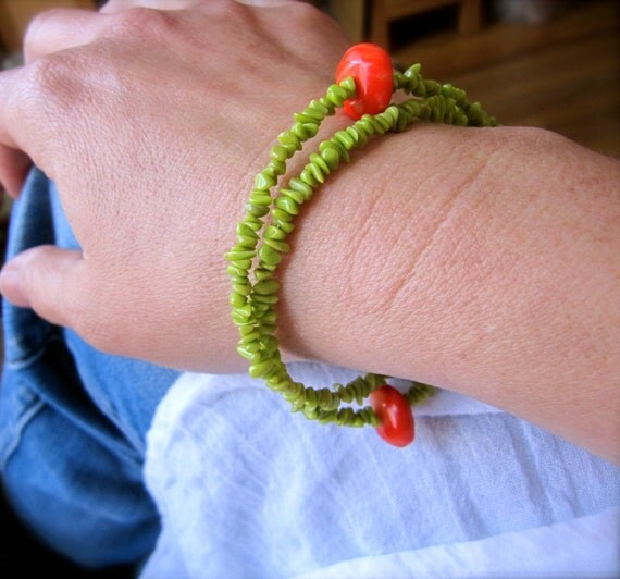 Lime Love Bracelet/Necklace - Coral and Sterling Silver