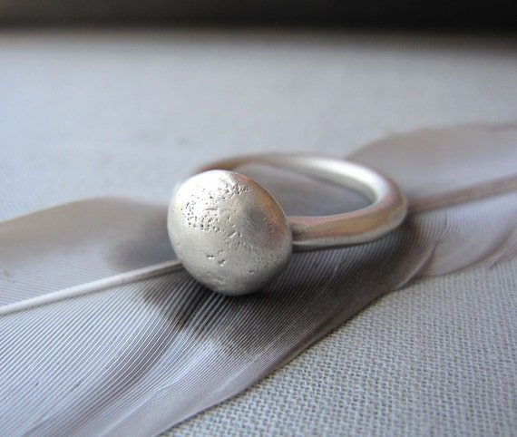 SALE - Satin Button Moon Ring - Sterling Silver