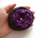 Original flower brooch made from upcycled sweater and crocheted flower Purple and black