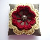 Mini pillow crochet flower applique on reclaimed fabric, Pincushion, brown, red, yellow