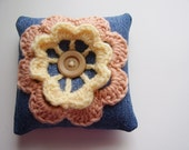 Decorative min pillow, upcycled denim and crochet flower applique, blue, peach, yellow, OOAK