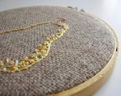 Embroidery hoop wall art decor Yellow pear OOAK