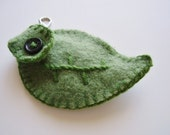 Wool lip balm holder (or USB) made of upcycled sweater, Green leaf