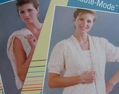 Knitting pattern, Women Twin set Camisole and short sleeve cardigan 1990s Kamouraska yarns