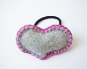 Ponytail holder decorated with a large felted heart, Valentines hair elastic, hot pink seam handsewn