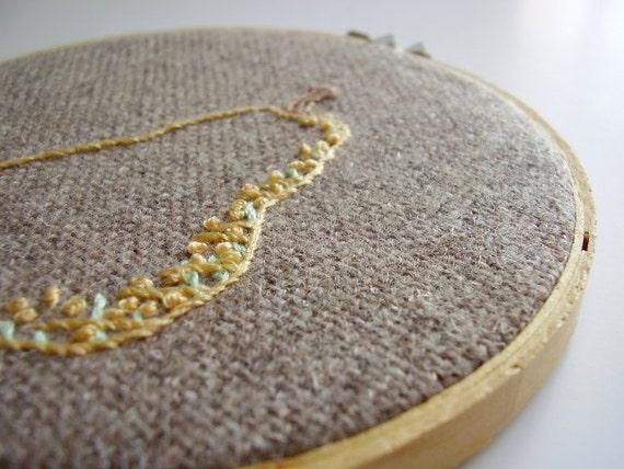 Embroidery hoop wall art decor Yellow pear OOAK